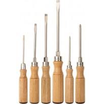 Набор отверток с деревянными ручками, 6 штук